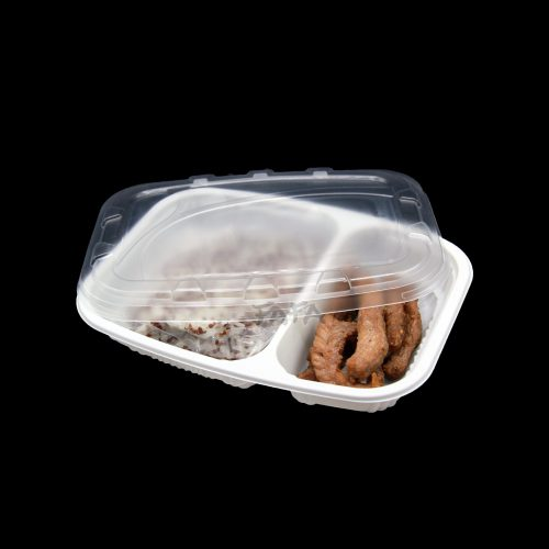 กล่องข้าว 2 ช่อง LB04 บรรจุภัณฑ์รักษ์โลก จาก ฟาฟากรีนแพ็ค